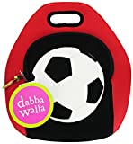Dabbawalla Bags Game On Soccer Kids' Insulated Washable & Eco-Friendly Sports Lunch Bag Tote Red/Black
