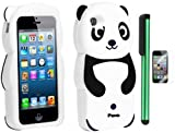 Black White Smile Panda Silicone Jelly Skin Premium Design Protector Soft Cover Case Compatible for Apple Iphone 5 (AT&T, VERIZON, SPRINT) + Screen Protector Film + Combination 1 of New Metal Stylus Touch Screen Pen (4