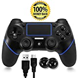 PS4 Controller, Bluetooth Gamepad Six Axies DualShock 4 Wireless Controller for PlayStation 4, Touch Panel Joypad with Dual Vibration (Color: BLACK)