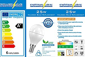 'Pack of 3 ~ Quality 4.6w LED Small Screw Cap (E14 SES) Golf Ball ~ 2700k Warm White ~ Energy Saving Light Bulb ~ A+ Rated ~ SMD ~ 25w-40w Replacement ~ 250 Lumen (3 Pack Bulbs) from PowerSave