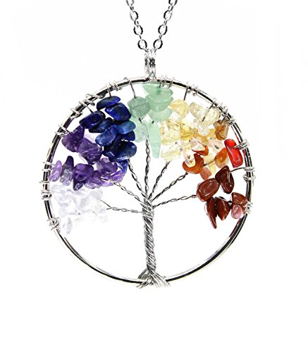 Boutiquelovin Amulet Tree of Life Healing Crystal Stone Pendant Necklace with 26-inch stainless steel chain (Amulet Crystal compare prices)