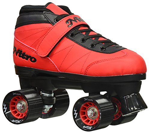 Epic Skates 2016 Epic Nitro Turbo 3 Indoor/Outdoor Quad Speed Roller Skates, Red