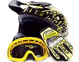 Adult Offroad Helmet Goggles Gloves Gear Combo DOT Motocross ATV Dirt Bike MX Black Yellow Splatter ( 2X XXL )