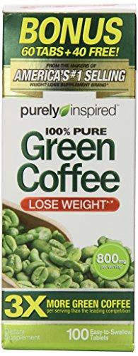 Purely Inspired Green Coffee Bean Bonus Tablets, 100 Count (Green Coffee Tablets compare prices)