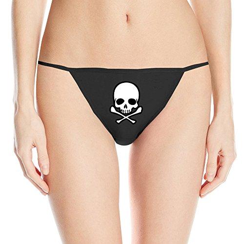 [YYHU - Head Skull With Crossbone Sexy Women's String Bikini Panty - Black] (Evil Teddy Bear Halloween Costume)