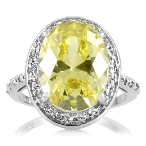Celebrity Wedding Ring - 8.5 Oval Cut Canary CZ