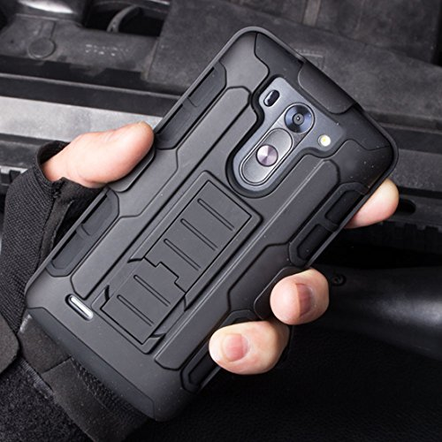 LG G3 S G3 Beat G3 Mini D722 D725 D728 D724 Case (Black), Heavy Duty Shockproof Impact Rugged Combo Armor Case Hard Cover with Kickstand and Rotating Swivel Belt Clip Holster (Lg G3 S D722 Case compare prices)