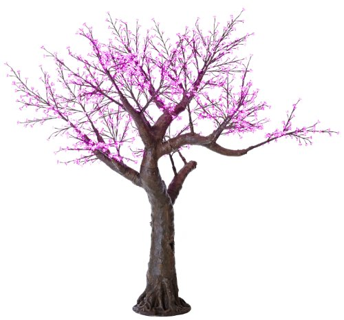 Arclite Nbl-230-8 Bonsai Cherry Blossom Tree, 0.9M Height, With Black Trunk, Pink Crystals And Pink Lights