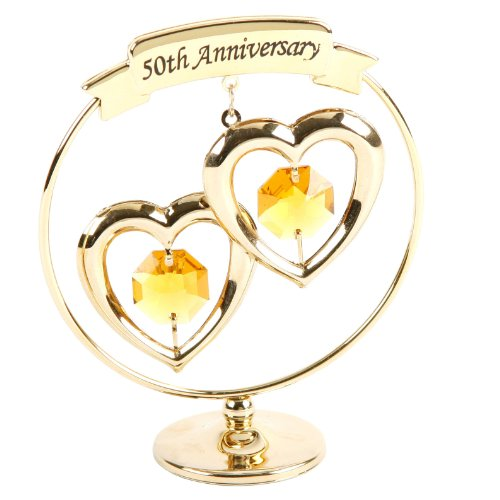 Crystocraft - 50th Golden Wedding Anniversary Gold Ring with Hearts SP250