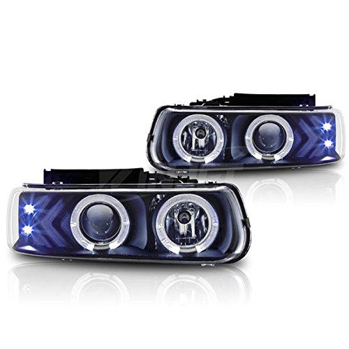 Starr Lite 99-02 Chevy Silverado / 00-06 Chevy Suburban / 00-06 Chevy Tahoe Halo Projector Head Lights - (Black / Clear)