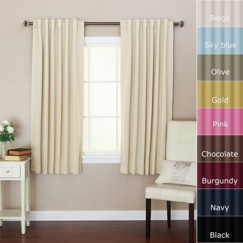 Solid Thermal Insulated Back Tap Blackout Curtain 63″L- 1 Set-BEIGE – BOC