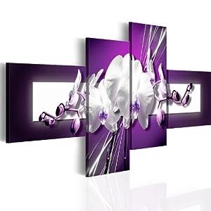 200x92 !!! Riesen-Format + Bilder XXL & Fertig Aufgespannt & Top Vlies Leiwand + 4 Teilig + Blumen + Wand Bilder 051483 + 200x92 cm +++ Riesen Bilder Kunstruck Wand Bilder +++