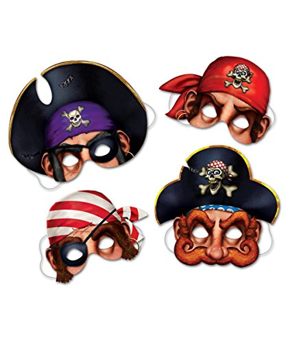 Beistle - 66801 - Pirate Masks- Pack of 4