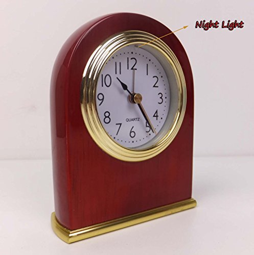 Best-mall Novelty MirageBlack Bedside Table Wooden Silent Alarm Clock With Nightlight And Anti-radiation Function-Red