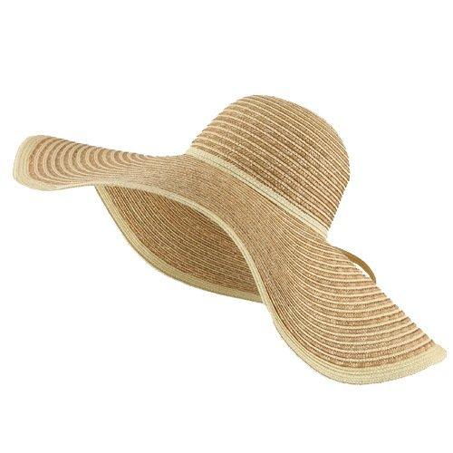 Large Straw Stripe Sun Hat - Khaki W32S09F