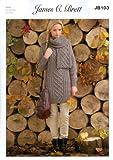 """James C Brett Aran - JB103 Ladies Sweater & Scarf Pattern 81-107cm(32""""-42"""")"""