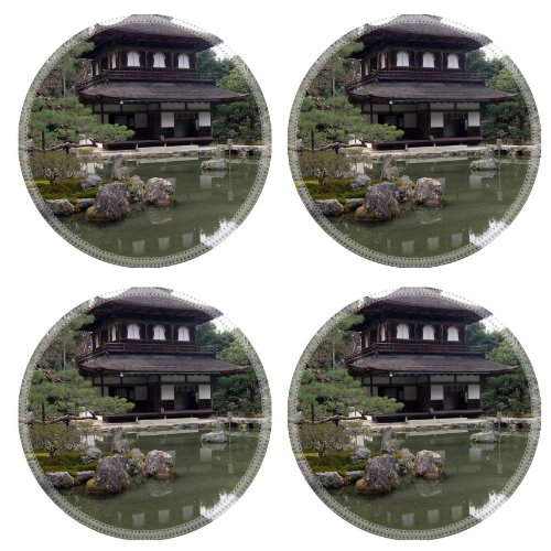 Japan Architecture Kyoto Landscape Scenery Round Coaster (4 Piece) Set Fabric Rubber 5 Inch Size Msd Coaster Cup Mug Can Water Bottle Drink Coasters Stain Resistance Collector Kit Kitchen Table Top Desk front-589990