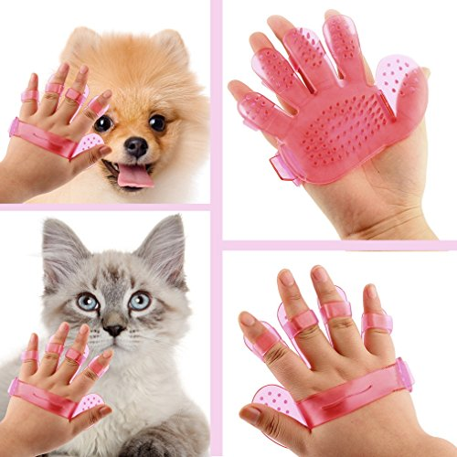 Superb good Pet dogs and cats to comb comb massage bath glove Pet bath brush pet products wash head Scalp massage brush (Red) (Handheld Premium Pet Turbo Brush compare prices)