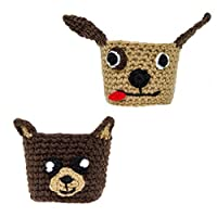 Animal Coffee Cozy Cup Sleeves (2 Pack: Dog & Bear) 100% Cotton Knitted Handmade, Reusable, Easy To Clean, Eco Friendly, Cute Hand Protector For Paper Cups By Kojee Kups