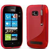 (Red) Nokia Lumia 710 Rubber Handle Grip Gel Case S line Design Cover Pouch Skin, Retractable Capacative Touch Screen Stylus Pen & LCD Scratch Proof Screen Protector By Fone-Case