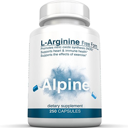 Alpine Nutrition L-Arginine 500mg Free Form - NOS Nitric Oxide Capsules - 250 Veggie Capsules (Milk Powder Made In Usa compare prices)