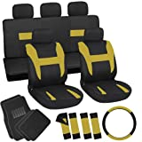 OxGord 21pc Black & Yellow Flat Cloth Seat Cover and Carpet Floor Mat Set for the Suzuki Forsa Hatchback, Airbag Compatible, Split Bench, Steering Wheel Cover Included