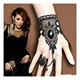 Handmade Gothic Lolita Retro Lace Slave Bracelet Ring Wedding Wristband Black Flower