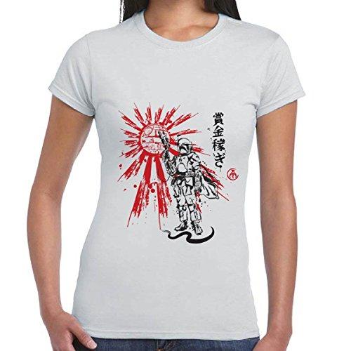 Maglia Donna T-Shirt Film Guerre Stellari Star Wars Stampa Boba Fett Death Star CHEMAGLIETTE!, Colore: Grigio, Taglia: S