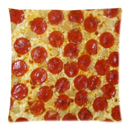 zonami Pepperoni Pizza Diy Custom Square Cushion Throw Case Pillowcase 18x18inch
