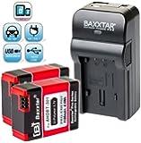 Baxxtar ® RAZER 600 Ladegerät 5 in 1 + 2x Baxxtar Akku für GoPro AHDBT-301 AHDBT-302 (1180mAh!) -- NEUHEIT mit Micro-USB Eingang und USB-Ausgang, zum gleichzeitigen Laden eines Drittgerätes (GoPro, GoPro Fernbedienung, iPhone, Tablet, Smartphone..usw.) -- passend zu -- GoPro Hero3 Hero 3 GoPro Hero3+ Black, White & Silver Edition