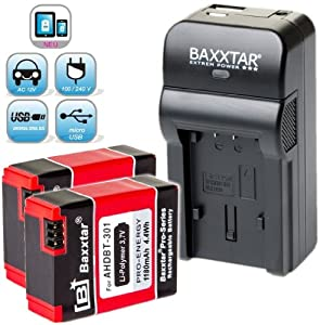 Baxxtar RAZER 600 chargeur 5 en 1 + 2x Baxxtar Batterie pour GoPro AHDBT-301 AHDBT-302 (1180mAh) -- NOUVEAU avec entrée micro USB. Sortie USB pour charger simultanément un troisième dispositif (GoPro, GoPro à distance, iPhone, tablette, smartphone, etc ..) - ajustements - GoPro Hero 3 Hero3 Hero3 + Black, White & Silver Edition