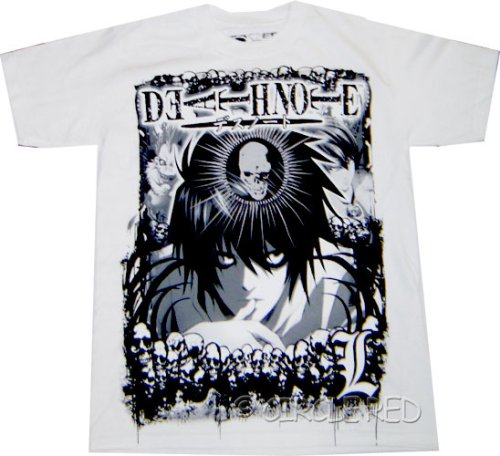 Death Note: Distressed L White T Shirt.