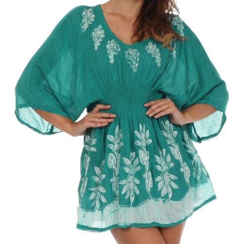 Sakkas 982 Embroidered Batik Gauzy Cotton Tunic Blouse - Mint - One Size