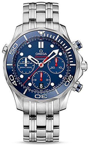 Omega Seamaster Diver Chronograph Blue Dial Steel Mens Watch 21230425003001 (Omega Seamaster Blue compare prices)