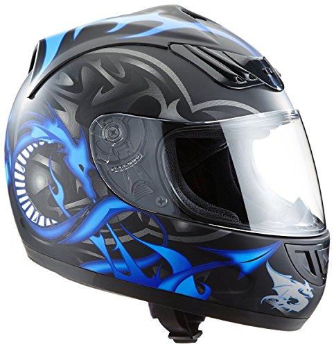 Casco moto blu H-510-11BL design drago - M
