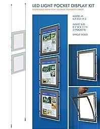 LED Light Pocket for Window Displays - Cable Suspended LED Backlit Display Kit with 2 (two) LED Light Pockets - Single Sided (Insert Size 8.5\