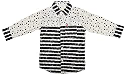 Zedd Boys' Cotton Shirt (E-C Zks1067C_24, Black and White, 24)