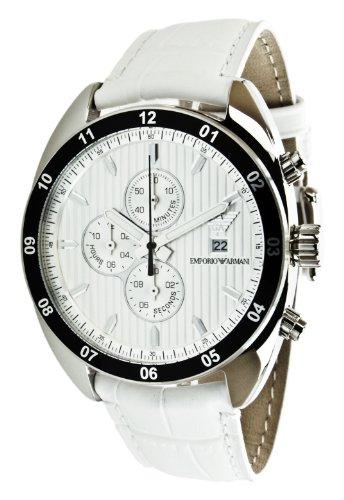 Emporio Armani AR5915 - Reloj para hombres, correa de cuero color blanco
