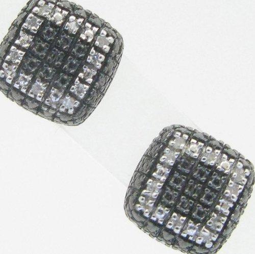 Mens 925 Sterling Silver earrings fancy stud hoops huggie ball fashion dangle white black small pave earrings
