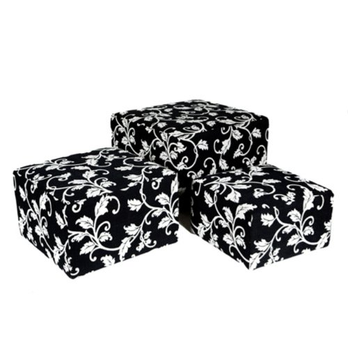 angelo:HOME Square Nesting Ottoman - 3 Piece Set - Black & White Vine