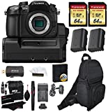 Panasonic Lumix DMC-GH4 Mirrorless MIcro 4 3 Digital Camera with DMW-YAGH 4K Video Interface Compact System +2x Transcend 64GB U3 + 2 Batteries + Full Size Backpack + Charger + Premium Accessory Kit