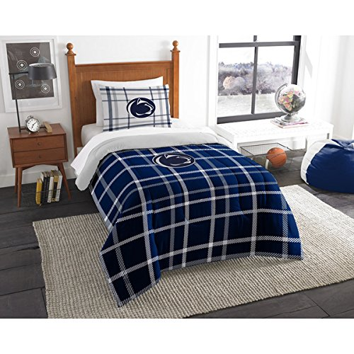 2 Piece NCAA Philadelphia Pennsylvania Twin Comforter Set, Blue White, Sports Patterned Bedding, Featuring Team Logo, Peen Merchandise, Team Spirit, College Football Themed, Polyester Material (Upenn Merchandise compare prices)