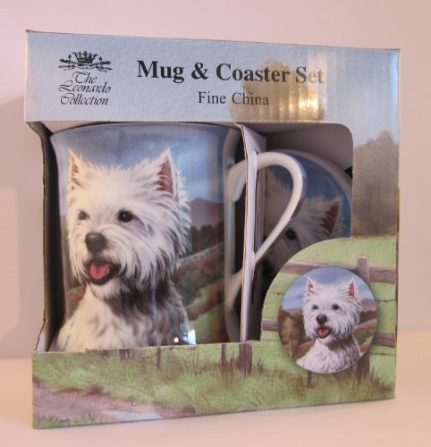 Beautiful Fine Bone China Westie Mug & Coaster set in lovely presentation box, ideal gift for dog lovers (LP31834D)