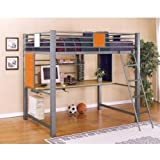 Full Size Loft bunk Bed in Silver Finish - Teen Trends Collection