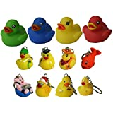 Waddlers Land & Sea Gift Pack Of 12, 8 Themed Different Mini Rubber Ducky And Friend Keychains And 4