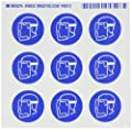 """Brady 58532 Pressure Sensitive Vinyl Right-To-Know Pictogram Labels , Blue On White,  1 1/2"""" Height x 1 1/2"""" Width,  Pictogram """"Face Shield"""" (9 Per Card,  1 Card per Package)"""