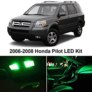 Ledpartsnow Honda Pilot 2006 2008 Green Premium Led Interior Lights Package Kit 12