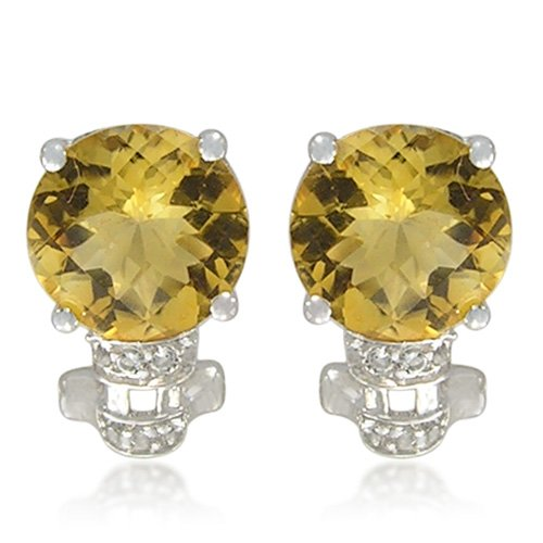 Sterling Silver Round-Shaped Citrine with White Topaz-Accent Earrings