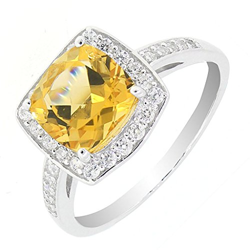 Vintage Style Sterling Silver Cushion Cut Genuine Citrine Halo Ring