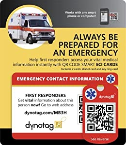 Dynotag® Web/GPS Enabled QR Code Smart Medical and Emergency Contact Information Card Kit - Wallet & Keychain cards